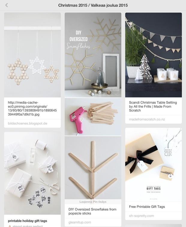 Valkean ja modernin joulun koristelu ja askarteluvinkit Pinteres-taulussani