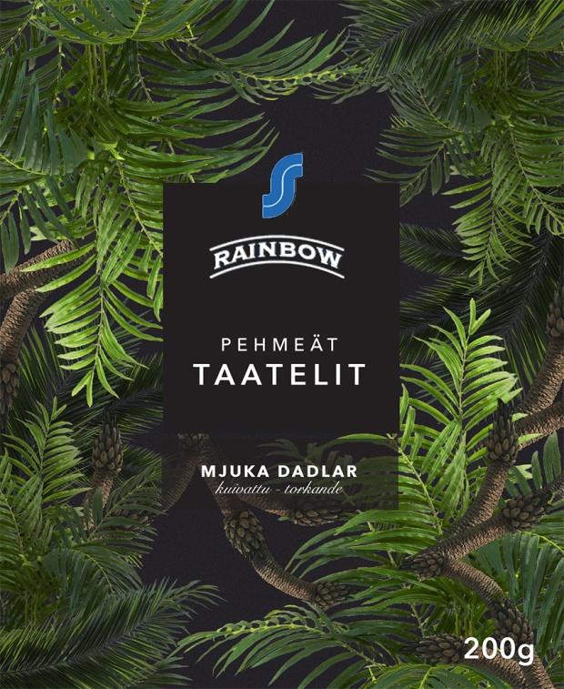 Kuvitteellinen ilme Rainbow-taatelit -tuotteelle